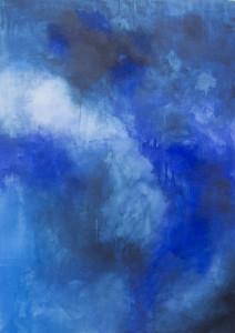 """"""" Triptichon in Blau 1 """" ,  74  x 1 00 cm ,     Acryl auf Papier"""