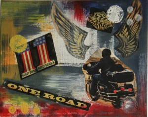 """""""Harley Davidson"""", 20x30 cm, Collage und Acryl auf Leinwand"""