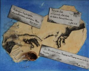 """""""ohne Titel"""", 20x30 cm, Collage und Acryl auf Leinwand"""