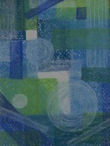 """""""ohne Titel"""", Blau/Grün, 12,5x18 cm, Pastell auf Papier"""