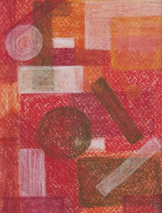 """""""ohne Titel"""", Rot, 12.5x18 cm,  Pastell auf Papier"""