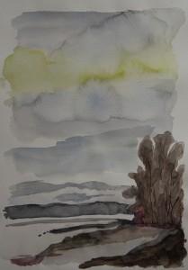 """Landschaft"", 25x30 cm, Aquarell auf Papier, 2012"