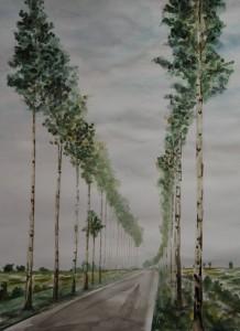 """""""Allee"""", 34x44 cm, Aquarell auf Papier, 2012"""