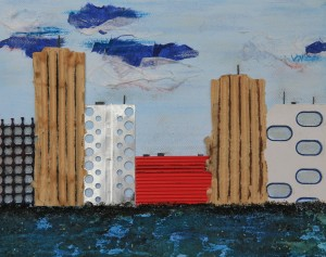 """""""ohne Titel"""", Collage und Acryl auf Leinwand, 30x24 cm"""