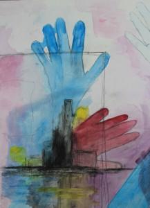 """""""ohne Titel"""", 35x45cm, Acryl und Kohle auf Papier"""